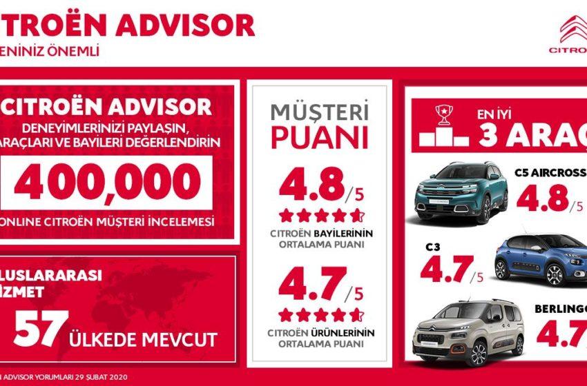 Citroen Advisor 400 bin değerlendirmeye ulaştı